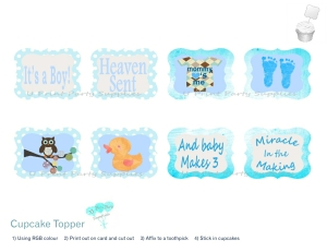 baby blue boy baby shower cupcake toppers 1