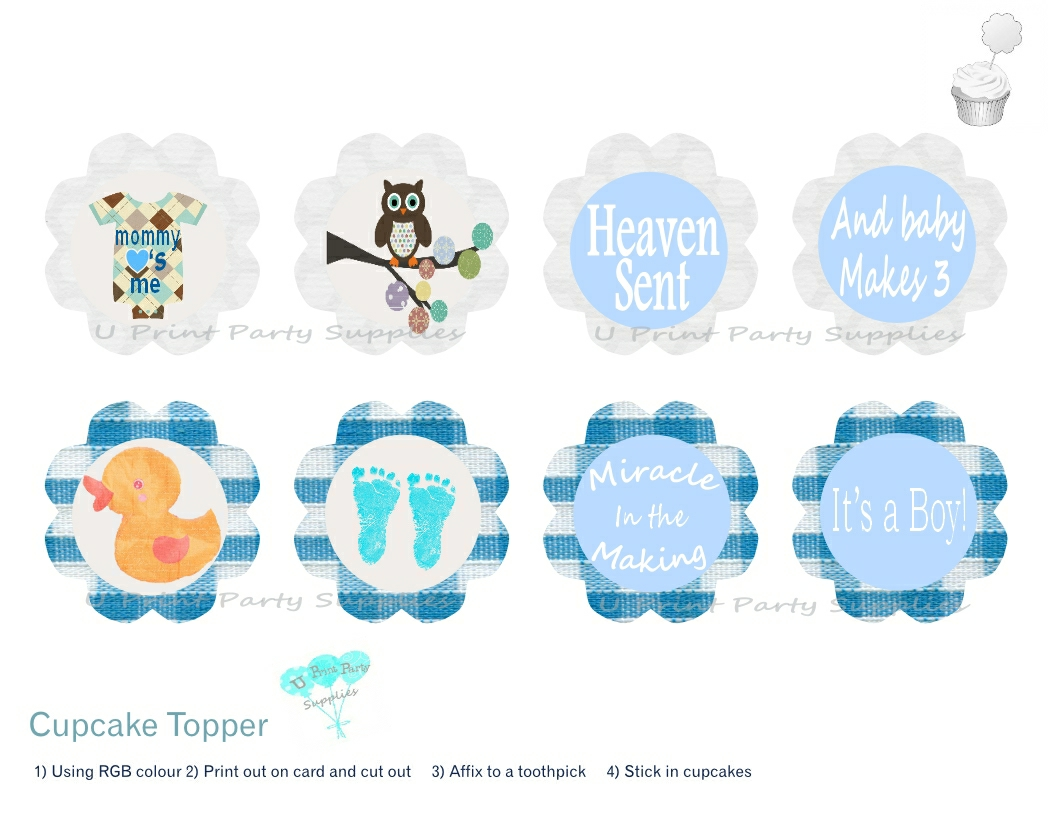 Baby boy shower cupcake toppers the for Baby shower cupcake picks decoration
