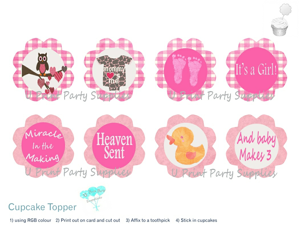 Baby Shower Cupcake Topper Ideas : baby shower decorations U Print Party Supplies Page 2