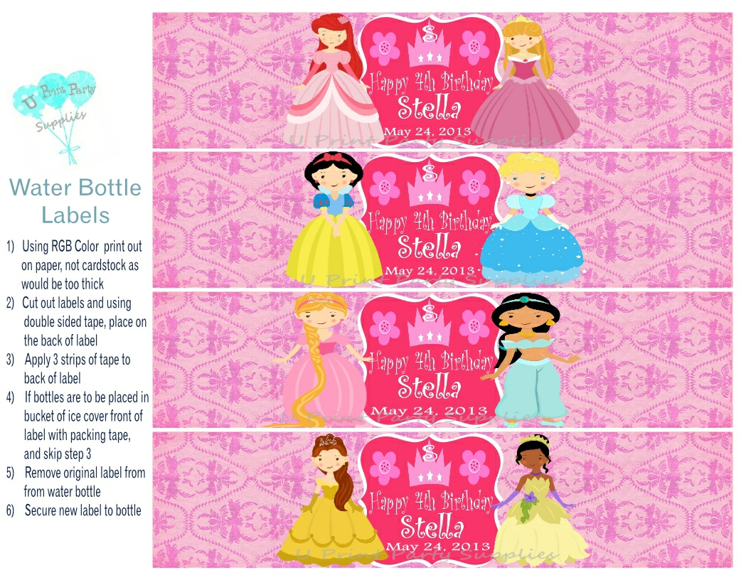 Princess Party Water Bottle Labels