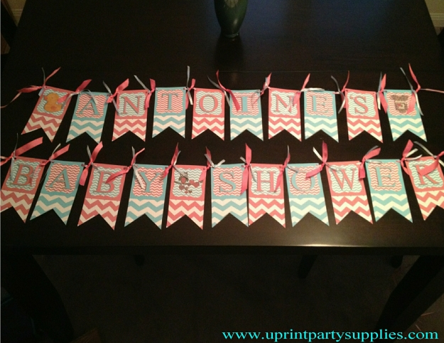 Blue and pink chevron baby shower banner 1