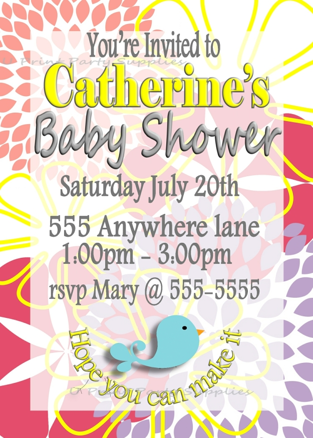 Floral Baby Shower Invite 5x7
