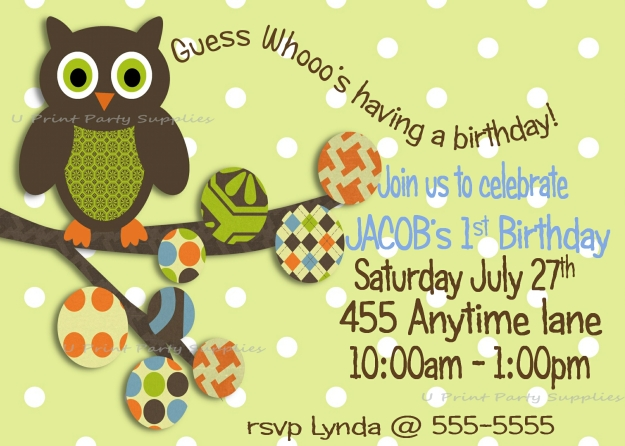 green and white polka dot owl invite