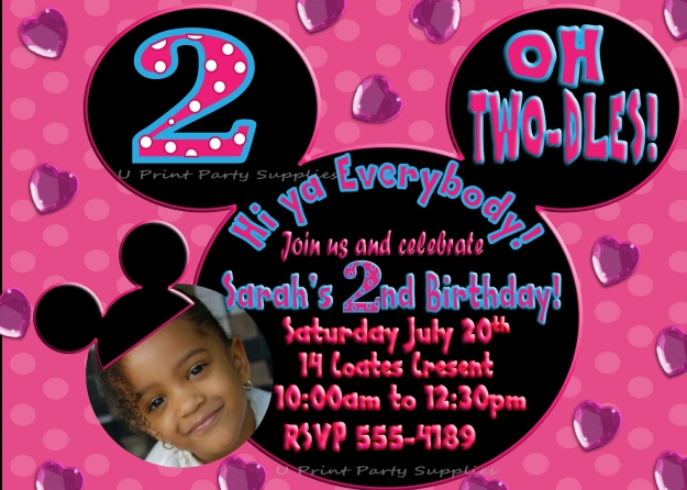 Minnie Mouse Party Invite 5x7 2