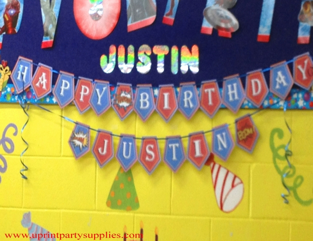 Superhero Party Happy birthday banner 1