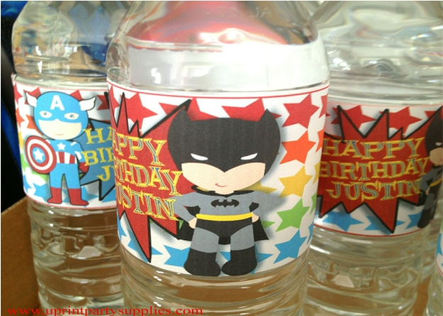Superhero Party Water Bottle Labels 2 5x7