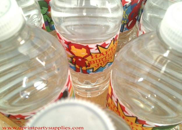 Superhero Party Water Bottle Labels 3 5x7
