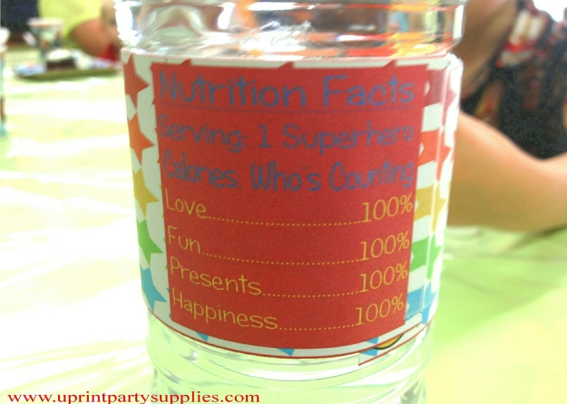 Superhero Party Water Bottle Labels 4 5x7